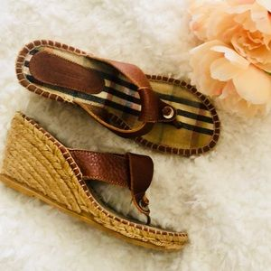 Burberry jute song wedge sandals brown leather 8
